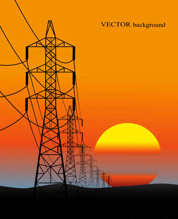 lines of electro transfers an evening landscape in a vector Illustration