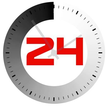 24 Stunden am Tag das Symbol für Design basiert auf einem weißen Hintergrund