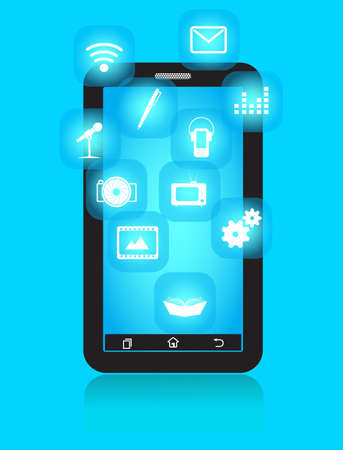 Smart Phone with icons of appendices of multimedia Vector