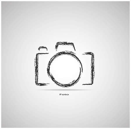 capturing: camera on a gray background is drawn with a brush