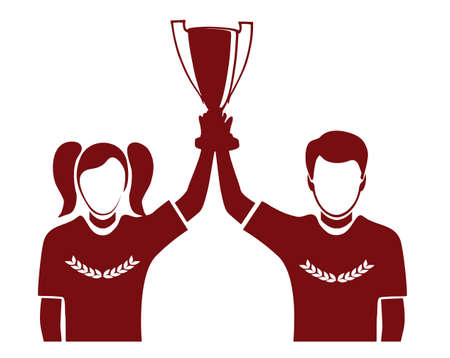 champ: champion with an award a silhouette on a white background Illustration
