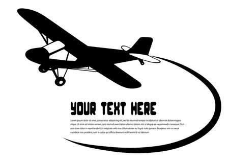 aviations: flying airplane on a white background Illustration
