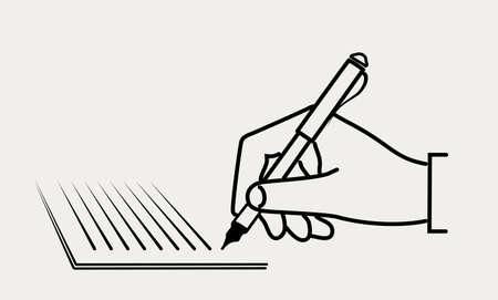 Icono de escritura a mano en papel Ilustración de vector