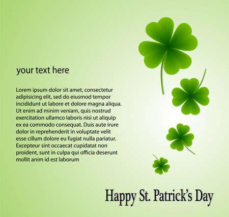 ハッピー聖パトリックの日の緑の背景に葉のクローバー  イラスト・ベクター素材