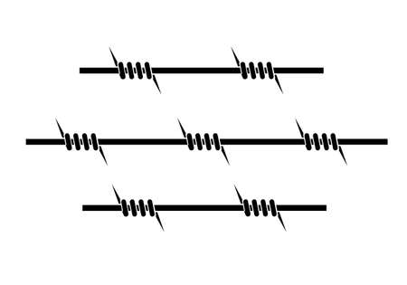 barbed wire fence: element of barbed wire on a white background