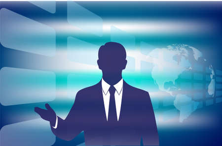outstretched: silhouette of the businessman with an outstretched arm on a blue abstract background
