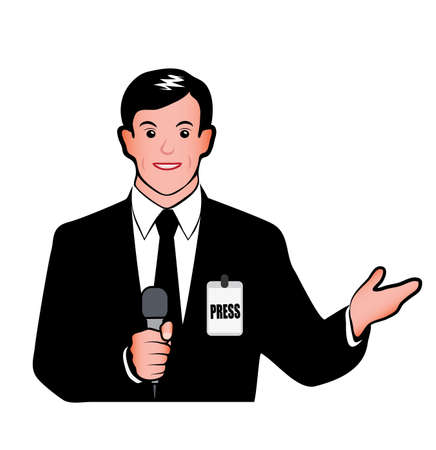 public transfer: journalist with a microphone on a white background