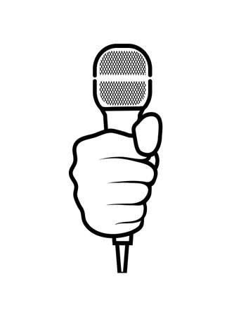 famous people: hand with a microphone on a white background