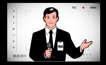 tv reporter: journalist with a microphone in the view-finder camera Illustration