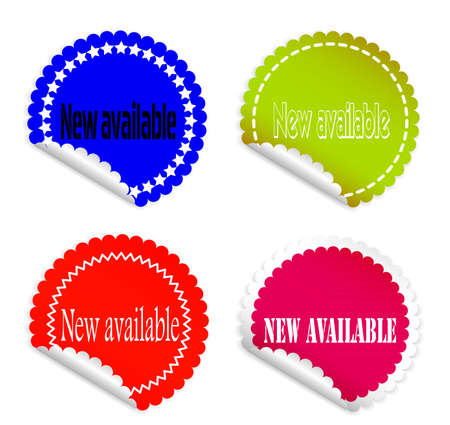 colored stickers and labels on a white background