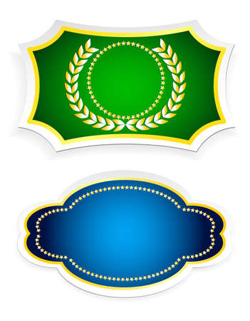 smithery: colored stickers and labels on a white background