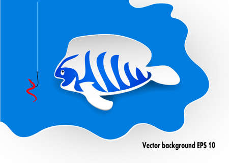 floater: fish on a blue background in the vector