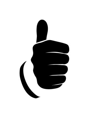 man close up: outline of the hand showing thumbs up sign on a white background