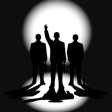 silhouettes of businessmen against a ray of light