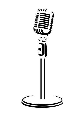 microfono antiguo: retro un micrófono sobre un fondo blanco