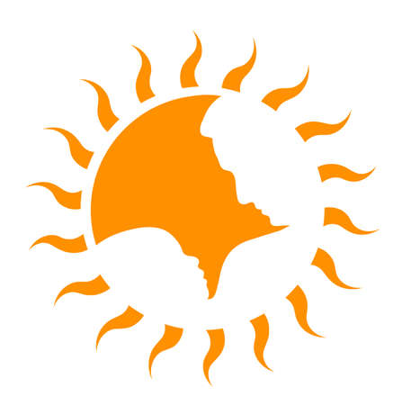 father and child: symbol of the father with the child on a background of the sun