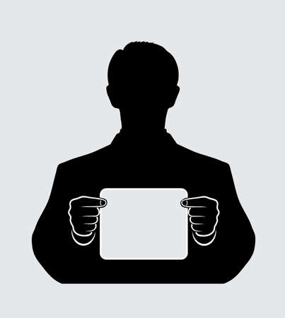 silhouette of a man with a banner on a white background Vector