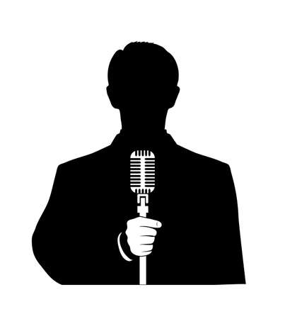 man with a microphone in his hand on a white background Vector