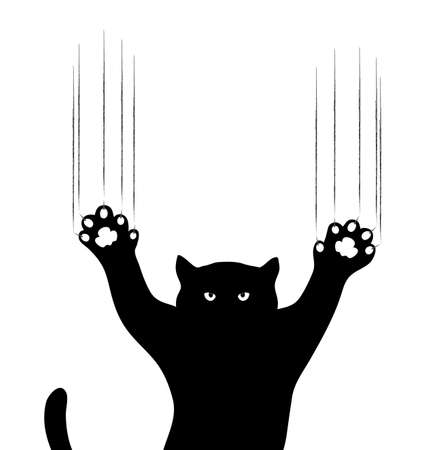 cat scratching claws on a white background Vector