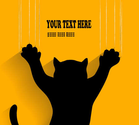 silhouette of a cat scratching background in vector Vector
