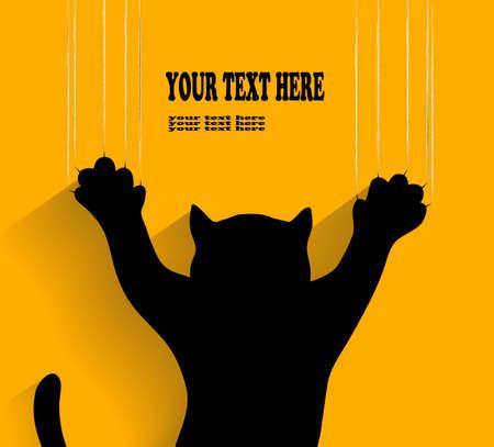 gato negro: silueta de un gato que rasgu�a el fondo en el vector