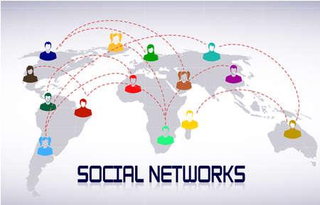 personas comunicandose: esquema de las redes sociales Vectores