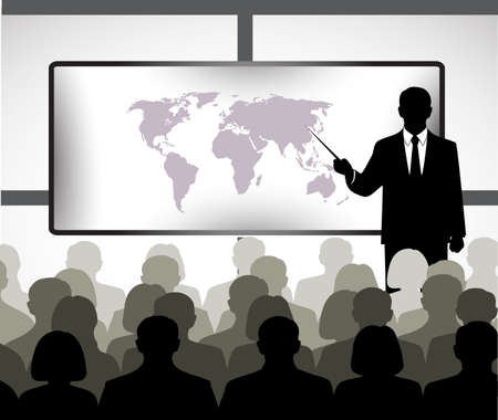 on the image the presentation of the businessman is presented Vector