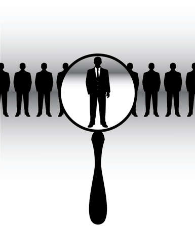 employment issues: people are under the magnifying glass Illustration