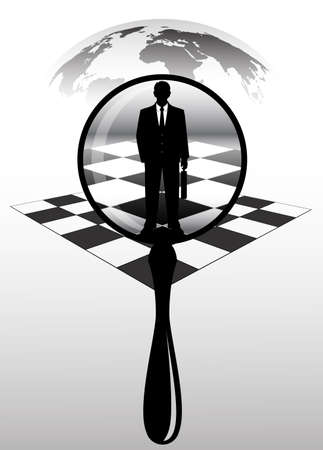 businessman under a magnifying glass against a planet Stock Vector - 22717610