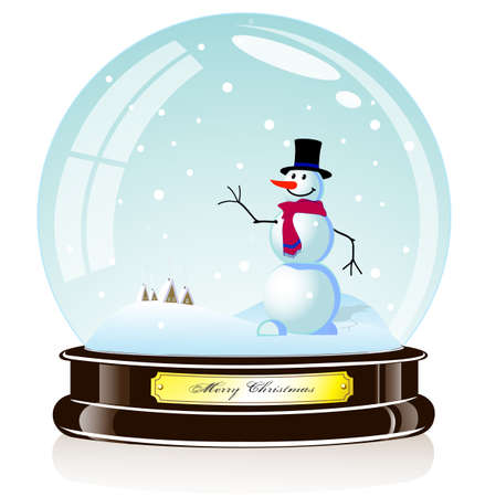 christal: souvenir a snowman in the glass sphere
