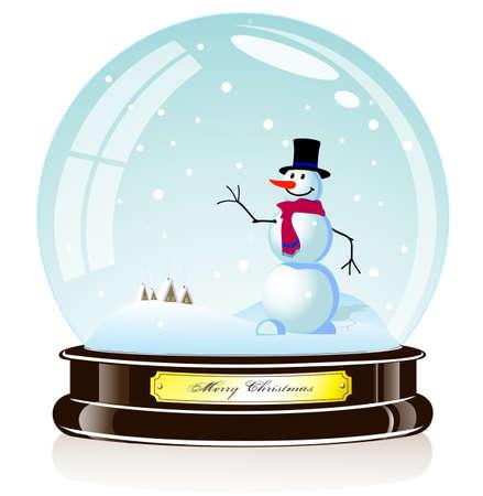 souvenir van een sneeuwpop in de glazen bol