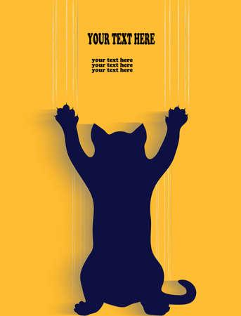 silhouet van een kat scratch achtergrond met plaats voor uw tekst Stock Illustratie