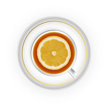 vista desde arriba: taza de t� con lim�n vista desde arriba