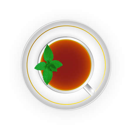 indian spices: cup of tea with mint top view
