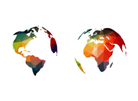 continents of polygons on a white background Vector