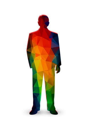 ranges: silhouette of the businessman from color polygons