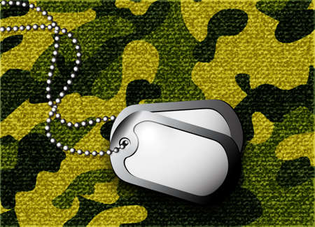 dogtag: soldier s token for camouflage fabrics Illustration