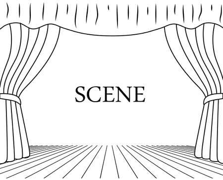白い背景上に描画の演劇シーン