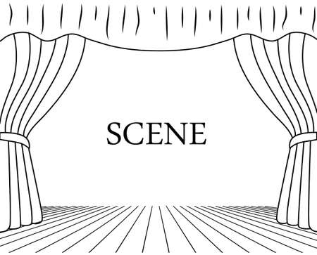 theatrical scene drawing on a white background
