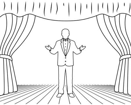 theater audience: actor on a scene Illustration