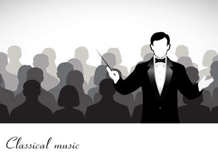orquesta clasica: conductor antes público