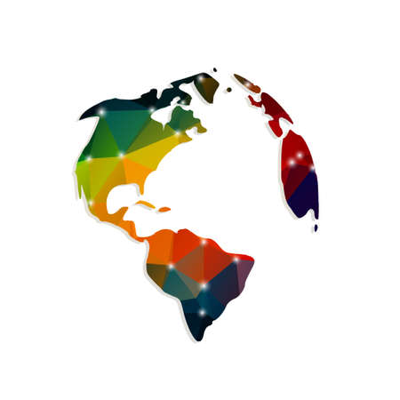 simplified: continents of polygons on a white background