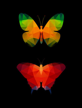 simplified: Butterfly of polygons on a black background