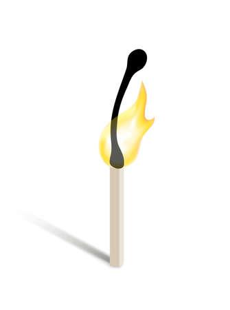 pyromania: burning match Illustration
