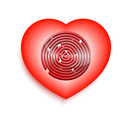 heart with a labyrinth on a white background  Vector