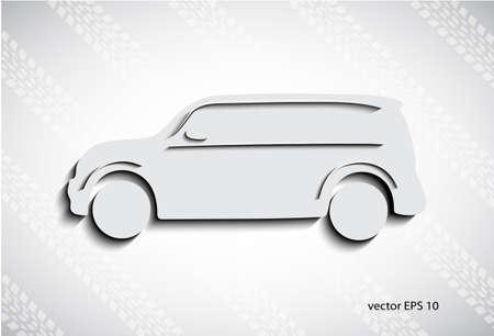 motor de carro: coche en un fondo de huellas de ruedas Vectores