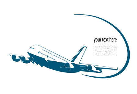 flying airplane on a white background Illustration