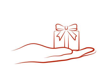 brings: hand brings a gift