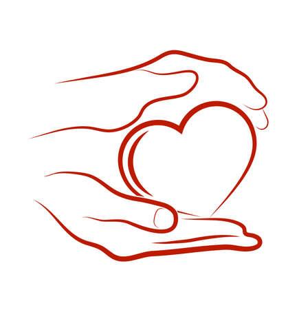 manos otorgando corazón Ilustración de vector