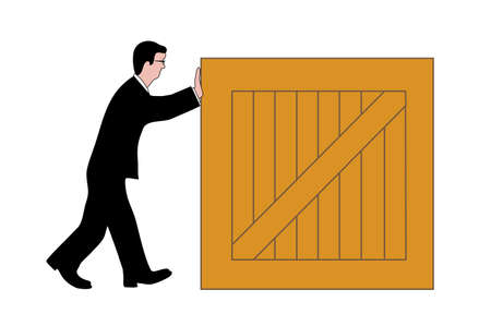 drawing of a man pushing a box Stock Vector - 23981108